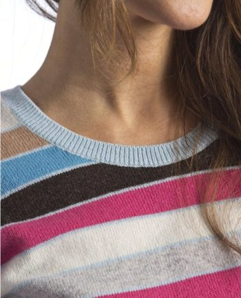 Jersey de rayas para mujer Hawick Knitwear_cuello