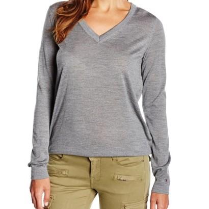 Jersey para mujer cuello de pico gris Tommy Hilfiger