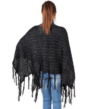 Poncho para mujer con flecos_espalda