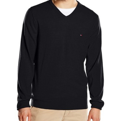Jersey para hombre Lambswool Tommy Hilfiger_negro
