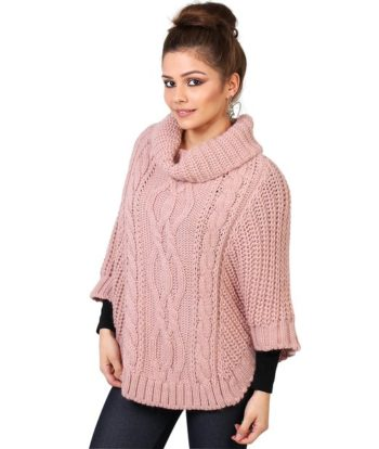 Poncho de lana para mujer Krisp_rosa