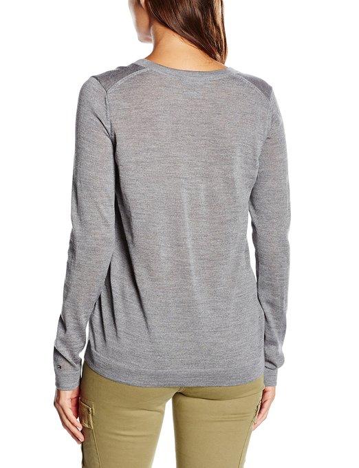 Jersey para mujer cuello de pico gris Tommy Hilfiger_atras